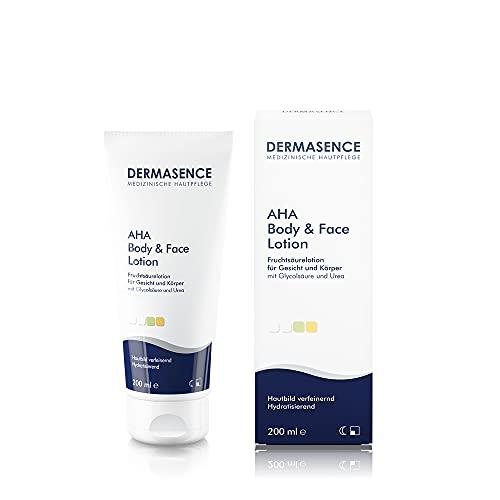 DERMASENCE AHA Body & Face Lotion - Körperlotion mit Fruchtsäure und Urea, bei zu Akne neigender Haut sowohl für die Gesichts- als auch Körperpflege - 200 ml