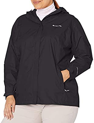 Columbia Women's Plus Size Arcadia II Waterproof Breathable Jacket with Packable Hood, Black, 3X