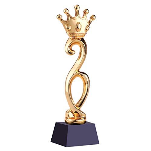 Trofei, medaglie e premi Onore Corona Trophy Creativo Resina Placcato Oro Cristallo Concorso Annuale di Souvenir Accessori (Color : Gold, Size : 8 * 8 * 29cm)