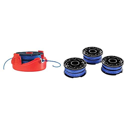 BLACK+DECKER Cassette avec Bobine de Rechange pour Coupe-Bordures & Lot de 3 Bobines de Rechange pour Coupe-Bordures, Bobine Reflex Plus A Déroulement Automatique, 3 x 12 m de Fil en Nylon, 1,5 mm