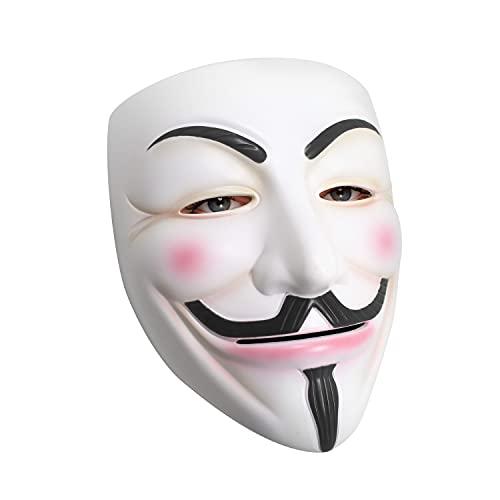Udekit Máscara de Hacker V para Vendetta Máscara Disfraz de Halloween Accesorios de Fiesta de Cosplay Blanco