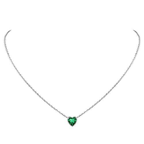 Suplight Plata de Ley 925 Cadenas Hipoalergénicas de Corazón para Mujeres Colgantes con Piedras Verdes de Esmeralda de Mayo Piedras de Nacimiento