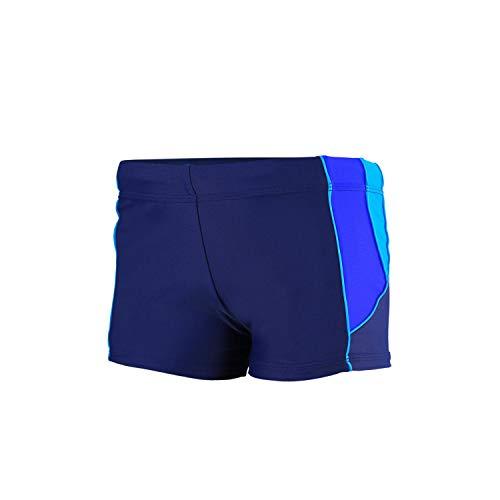 Aquarti Jungen Kurze Badehose mit Einsätze Seitlich, Farbe: Dunkelblau/Blau/Hellblau, Größe: 122