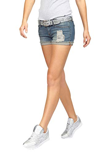 AJC Damen Jeansshorts Jeans Shorts (Blue Used, 36)