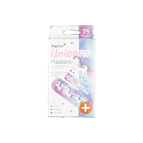 The Home Fusion Company 75 Rainbow Children's Unicorn Plasters Soft Flexible And Wash Proof 2 Sizes