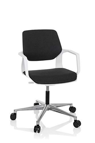 hjh OFFICE 790012 Drehstuhl Free White Stoff Schwarz/Weiß moderner Stuhl, Schreibtischstuhl mit Wippfunktion, höhenverstellbar