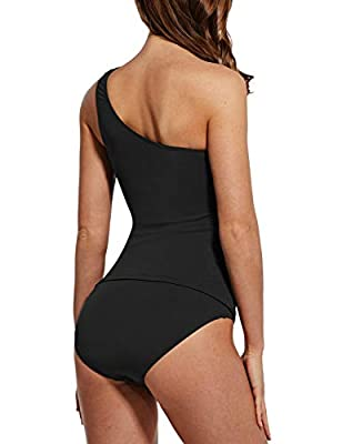 BALEAF Women's Athletic Two Piece Swimsuits Ruched High Waisted Tankini Swimsuits Black 38