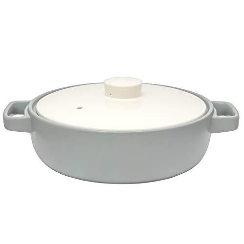 TAMAKI 土鍋 トート 4-5人用 グレー 直径33.7×奥行27.4×高さ12.8cm IH・直火・電子レンジ・オーブン対応 T-885277