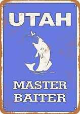 Tamengi 8' x 12' Metal Sign - Utah Bass Fishing Master Baiter - Rusty Look