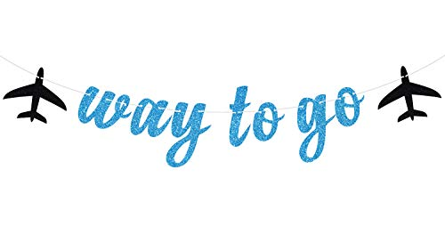 Way to Go Banner Blue+Black Glitter- Party Supply Wall Decoration, Congrats Grad Party Decorations Supplies, 2020 High School Graduation, College Graduate Banner