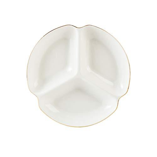 Porcelana Dividido Platos,Cerámica Redondo Bandeja,Con Oro Afilado por Partido Perfecto por Papas fritas y Aderezo,Verduras,Caramelo y Meriendas blanco 7 pulgadas