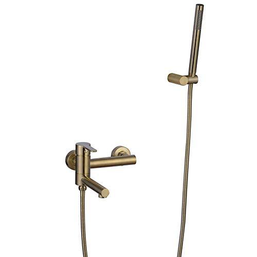 HNBMC Badewanne Duscharmatur, Wandmontage Wasserfall Bad Wasserfilter Mischbatterie Gebürstet Gold mit Handbrause