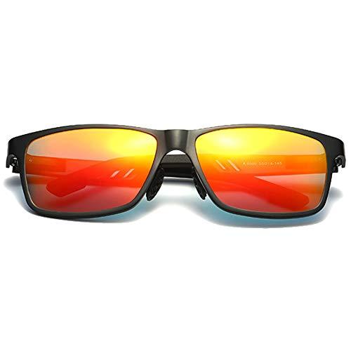 KK Zachary Gafas de sol coloridas nuevas polarizadas de aluminio y magnesio azul/marrón/rojo/plateado para conducir gafas de sol (color: rojo)