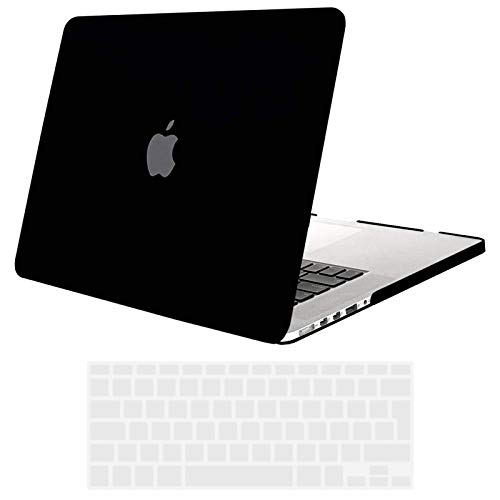 Tecool Custodia MacBook Pro 15 pollici retina, [Ultra Sottile Serie] Plastica Case Cover Rigida Copertina con Copertura Della Tastiera in silicone per MacBook Pro 15.4 retina Modello: A1398 - Nero
