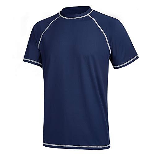 MILANKERR Mens Shirts UV Rash Guards Short Sleeves Quick Dry Swimming Top...