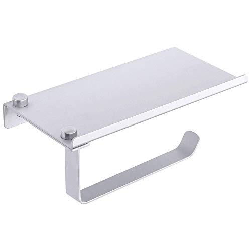 Soporte de papel higiénico DyniLao con estante para teléfono Soporte de papel cepillado montado en la pared de aleación de aluminio Baño plateado