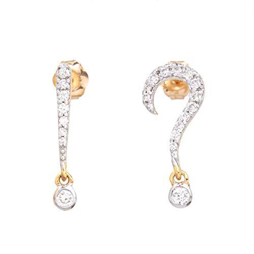 Pregunta/Signo de exclamación Pendientes de oro amarillo de 14k con diamantes naturales 0.23 quilates (color H I, claridad VS2 SI1) Joyería fina para mujeres Regalos