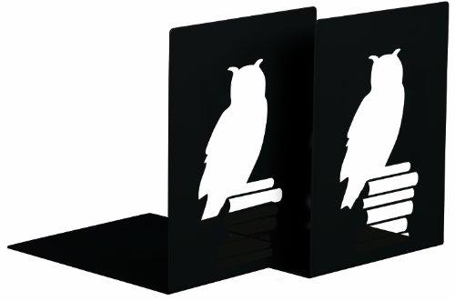 moses. Buchstützen-Set Leseeule libri_x , 2er-Set Buchständer aus Metall , Zwei schwarze Metall-Buchstützen im Set mit wunderschön ausgestanzten Lese-Eulen