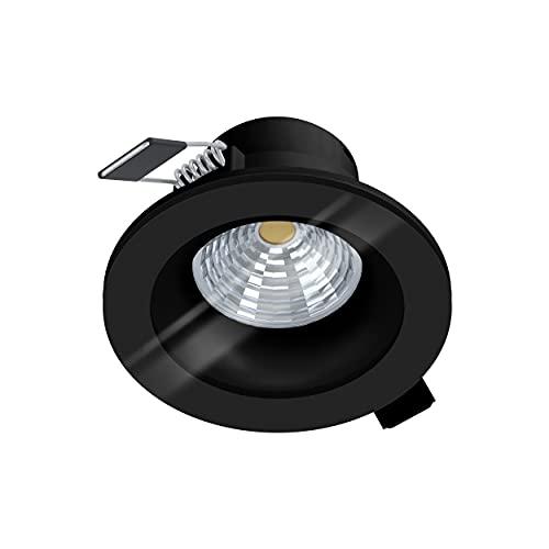 EGLO Foco LED empotrable Salabate, foco LED regulable de aluminio y cristal, lámpara LED empotrable en negro, transparente, foco LED de baño blanco cálido, IP44, diámetro de 8,8 cm
