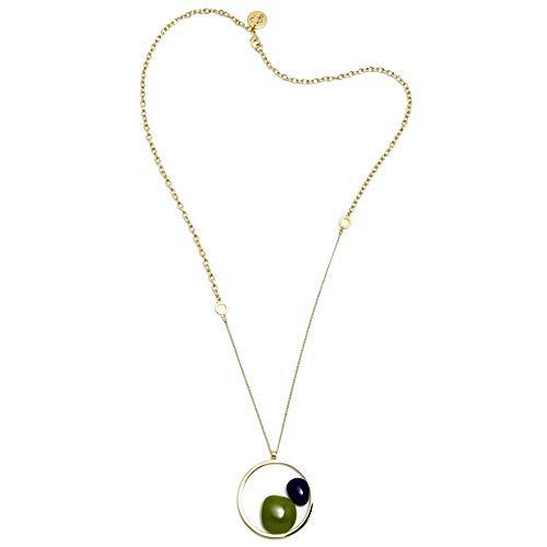 Collar Pertegaz colección Helena cadena 85cm. distinto grosor colgante piedras azul marino verde