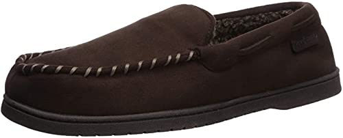 Dearfoams Men's Microsuede Moccasin with Whipstitch Slipper, Coffee, Large
