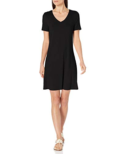 Amazon Essentials Women's Short-Sleeve V-Neck Swing Dress, Black, Large