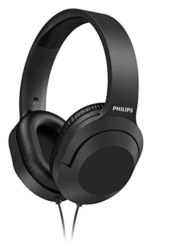 Philips Audio TAH2005BK/00 Over-Ear Stereo Kopfhörer mit Kabel (2-m-Kabel, 40-mm-Neodym-Treiber, Passive Geräuschisolierung, Verstellbarer Kopfbügel, Leicht) Schwarz - 2020/2021 Modell, einheitsgröße