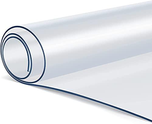 Tovaglia Trasparente in PVC 140 x 80 cm, 2 mm di Spessore, Tovaglia plastificata trasparente, Tovaglia di PVC Plastica Impermeabile, Resistente all'Olio, Antigraffio, Antiscivolo, Facile da Pulire
