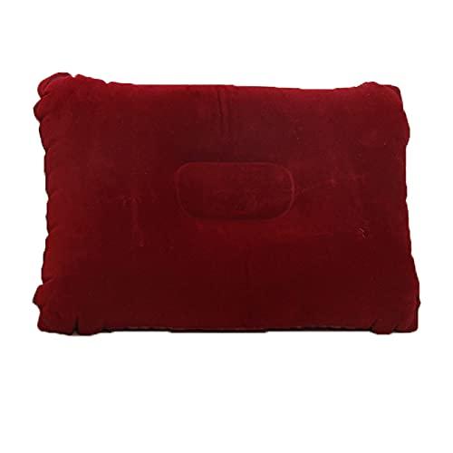 Almohada inflable del cuello de viaje (2pcs) Completa con 1 PCS con máscara de ojo para dormir y 1 unidad de bomba de mano portátil, almohada portátil inflable del cuello de viaje,Red wine,24*38cm