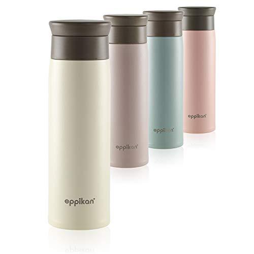 eppikan® Edelstahl Thermobecher- Isolierbecher, Kaffee-to-go Becher, 350 ml, 500 ml Travel Mug, Autobecher, eppiToGo, 100% auslaufsicher mit hygienischer 360°-Trinköffnung (Ivory, 500 ml)