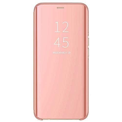 DOINK Funda de Espejo para el OnePlus 9R, Prima Smart View Carcasa con Clear Ventana - Oro Rosa