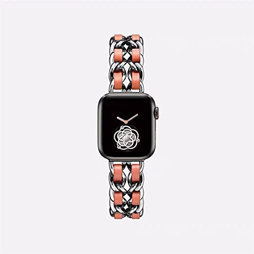 TRSX Watch Strap Watch 6 5 4 3 Band Stainless Steel 38mm 42mm Bracelet Band (Band Color : Silver orange, Band Width : 38mm or 40mm)