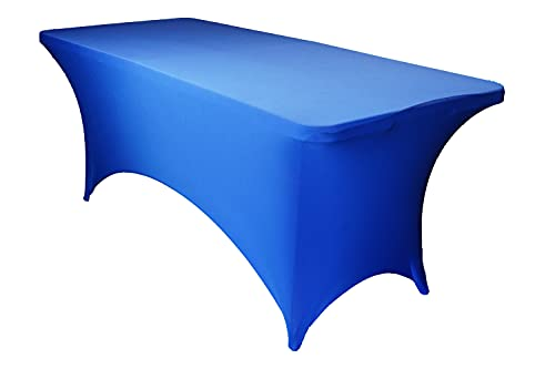 Rally Home Goods Premium Spandex Rectangular Tablecloths, Stretch Polyester Fabric Table Cover Solid Color for 4-Feet Table, Royal Blue, Holiday, Party & Events Decoration