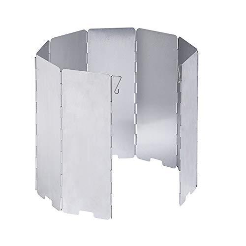 D-Orange Faltbar Aluminium Windschutz Camp Herd Windschutzscheibe mit 10 Lamellen aus Aluminium Tragbare Windschutzscheibe Windscreen für Camping Kocher Outdoor Grill, Silber