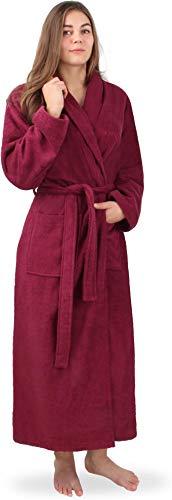 normani Extra Langer Baumwoll-Bademantel | Weicher Sauna-Bademantel mit Frottee für Damen - Öko Tex 100 - Premium Qualität Farbe Burgund Größe M