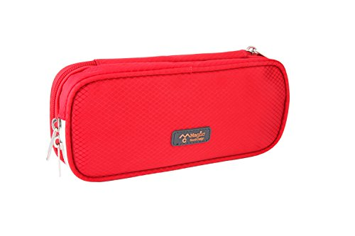 Large Capacity Double Zipper Pencil Case Bag Pen Pouch (Red, Red)