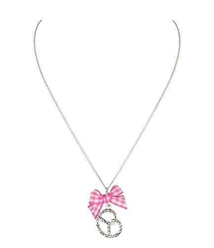SIX Oktoberfest Silberne Damen Halskette mit Brezel und rosa-weißer Textil-Schleife Wiesen Wiesn Dirndl (474-369)