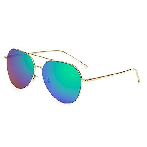 LYRStore886 Donne Specchio da Sole Retro Occhiali Donna Occhiali da Sole di Metallo Generoso, Bellissimo (Lenses Color : Green)