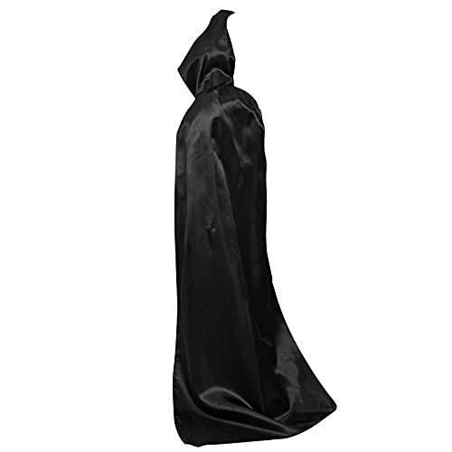Myir Płaszcz z kapturem unisex peleryna szlafrok satynowy cosplay Halloween Boże Narodzenie fantazyjne kostiumy dla dorosłych (L, czarny)