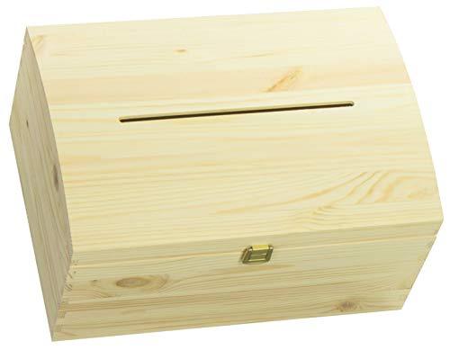 LAUBLUST Holztruhe Gewölbter Deckel, Brief-Schlitz & Schloss - 35x25x19cm, Natur, FSC® - Geschenk-Truhe zur Hochzeit