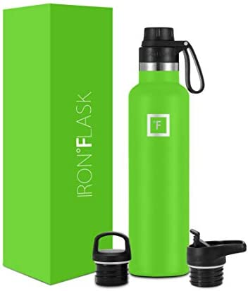 IRON FLASK Sports Water Bottle 24 Oz 3 Lids Spout Lid Vacuum Insulated Stainless Steel Hot Cold product image