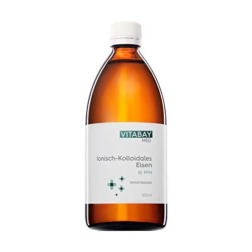 Vitabay Kolloidales Eisen 50 PPM • 500 ml • Hochdosiert • Reinheitsstufe 99,99% • Braunglasflasche