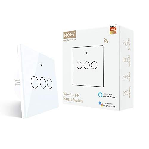 MOES interruttore smart WiFi RF433 touch da parete, non richiede neutro, 3 via interruttore intelligente compatibile con Smart Life/Tuya, lavora con Alexa e Google Home Bianco,3 Gang