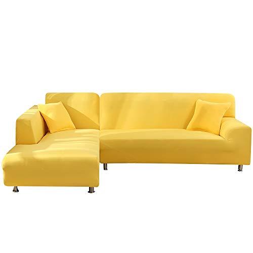 papasgix Fundas de Sofá Chaise Longues Elastica,Cubiertas Protector de Muebles Elegante para Sala de Estar, Tejido del Poliéster Fundas de Sofá en Forma de L 2 Piezas,2 Plazas+2 Plazas,Amarillo