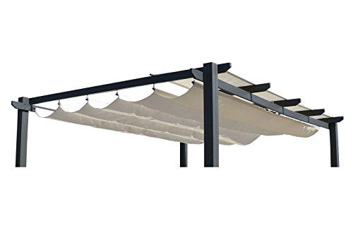 OUTFLEXX Ersatzdach für LECO Pergola, Garten-Pergola in creme, Pavillon aus Polyester Textil, universal und wasserabweisend, ca. 390 x 316 cm