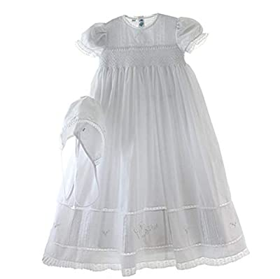 Feltman Brothers Girls White Smocked Christening Baptism Gown Bonnet Set with Pearls (NB-3M)