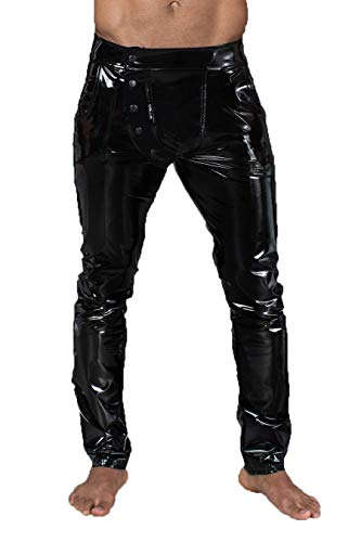 Noir Handmade Lange Herren fetisch Gogo Hose aus elastischem PVC schwarz glänzend Männer Pants L
