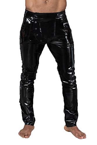 Noir Handmade Lange Herren fetisch Gogo Hose aus elastischem PVC schwarz glänzend Männer Pants 3XL
