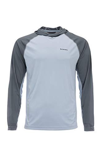 Simms Bugstopper Solarflex 50+ UPF Hoody, Bug Repellent Shirt, Steel Blue, Large