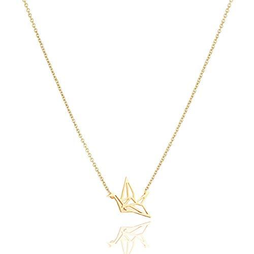 Sieraden papier kraanvogel legering sleutelbeen hanger korte chocker ketting Gift-Golden